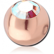 ROSE GOLD PVD COATED SURGICAL STEEL SWAROVSKI CRYSTAL JEWELLED BALL FOR BALL CLOSURE RING