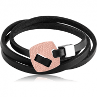 ROSE GOLD PVD COATED SURGICAL STEEL KOOL KATANA BRACELET WITH LEATHER