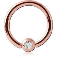 ROSE GOLD PVD COATED SURGICAL STEEL SWAROVSKI CRYSTAL JEWELLED BALL CLOSURE RING