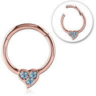 ROSE GOLD PVD COATED SURGICAL STEEL ROUND JEWELLED HINGED SEPTUM RING PIERCING