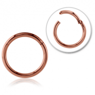 ROSE GOLD PVD COATED SURGICAL STEEL HINGED SEGMENT RING