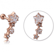 ROSE GOLD PVD COATED SURGICAL STEEL JEWELLED TRAGUS MICRO BARBELL - STARS PIERCING