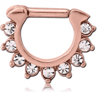 ROSE GOLD PVD COATED SURGICAL STEEL ROUND JEWELLED HINGED SEPTUM CLICKER