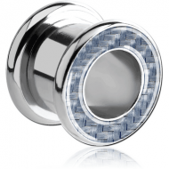 SURGICAL STEEL JEWELLED CARBON FIBER ROUND-EDGE THREADED TUNNEL