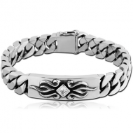 SURGICAL STEEL JEWELLED BRACELET WITH PLATE - FLAMES