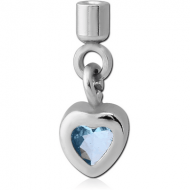 SURGICAL STEEL JEWELLED SCREW ON CHARM WITH MICRO THREADED CUP - HEART