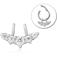 SURGICAL STEEL SLIDING JEWELLED CHARM FOR HINGED SEGMENT RING - FIVE CIRCLE