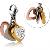 SURGICAL STEEL CRYSTALINE JEWELLED TRIPLE TONE CHARM WITH LOBSTER LOCKER - HEART