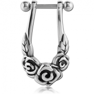SURGICAL STEEL CARTILAGE SHIELD - ROSES PIERCING