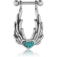 SURGICAL STEEL JEWELLED CARTILAGE SHIELD - HEART WITH WINGS PIERCING