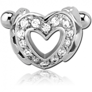SURGICAL STEEL JEWELLED CARTILAGE SHIELD - HEART PIERCING