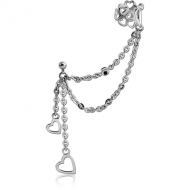 SURGICAL STEEL JEWELLED EAR CUFF CHAIN WITH TWO HEARTS