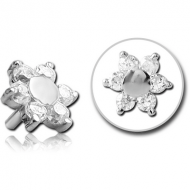 SURGICAL STEEL JEWELLED PUSH FIT ATTACHMENT FOR BIOFLEX INTERNAL LABRET - FLOWER