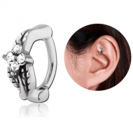 SURGICAL STEEL JEWELLED ROOK CLICKER - LEAF PIERCING