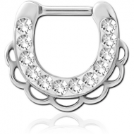 SURGICAL STEEL ROUND CRYSTALINE JEWELLED HINGED SEPTUM CLICKER