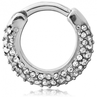 SURGICAL STEEL ROUND JEWELLED HINGED SEPTUM CLICKER