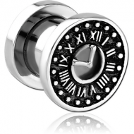 STAINLESS STEEL THREADED TUNNEL WITH SURGICAL STEEL TOP - VINTAGE ANALOG CLOCK