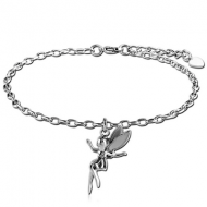 SURGICAL STEEL OVAL ROLLO CHAIN ANKLET WITH CHARM - FAIRY