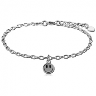 SURGICAL STEEL OVAL ROLLO CHAIN ANKLET WITH CHARM - SMILEY