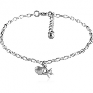 SURGICAL STEEL OVAL ROLLO CHAIN ANKLET WITH CHARM - SEASHELL STARFISH