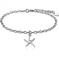 SURGICAL STEEL OVAL ROLLO CHAIN ANKLET WITH CHARM - STARFISH