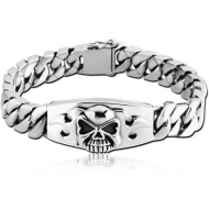 SURGICAL STEEL BRACELET WITH PLATE - SKULL AND FLAMES