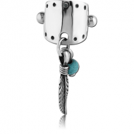 SURGICAL STEEL JEWELLED CARTILAGE SHIELD - DANGLING FEATHER PIERCING