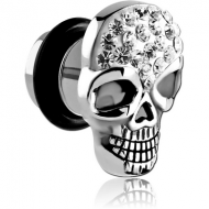 SURGICAL STEEL CRYSTALINE JEWELLED SKULL FAKE PLUG PIERCING