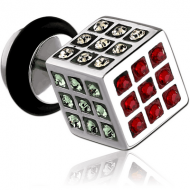 SURGICAL STEEL CRYSTALINE JEWELLED RUBIK FAKE PLUG PIERCING