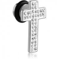 SURGICAL STEEL CRYSTALINE JEWELLED CROSS FAKE PLUG PIERCING