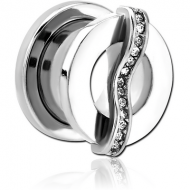 SURGICAL STEEL JEWELLED THREADED TUNNEL