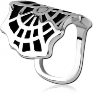 SURGICAL STEEL LIP CUFF - SPIDER WEB PIERCING