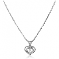 SURGICAL STEEL NECKLACE JEWELLED PENDANT - HEART