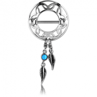 SURGICAL STEEL TURQUOISE DREAMCATCHER WITH FEATHERS NIPPLE SHIELD PIERCING