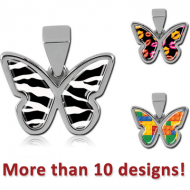 SURGICAL STEEL PICTURE PENDANT - BUTTERFLY