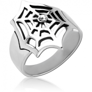 SURGICAL STEEL RING - SPIDER WEB
