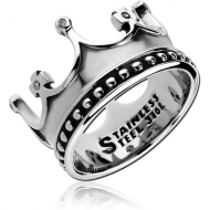 SURGICAL STEEL JEWELLED RING - CROWN