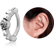 SURGICAL STEEL PRONG SET JEWELLED ROOK CLICKER PIERCING
