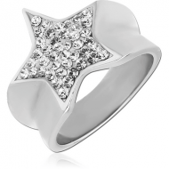 SURGICAL STEEL CRYSTALINE JEWELLED RING - STAR