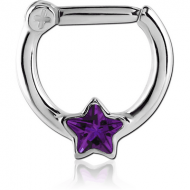 SURGICAL STEEL STAR JEWELLED HINGED SEPTUM CLICKER