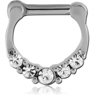 SURGICAL STEEL ROUND JEWELLED HINGED SEPTUM CLICKER PIERCING