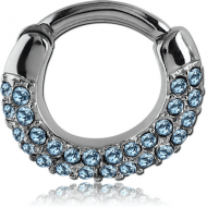 SURGICAL STEEL ROUND JEWELED HINGED SEPTUM CLICKER RING