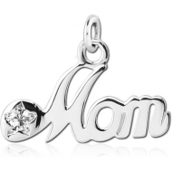 STERLING SILVER 925 JEWELLED CHARM - MOM