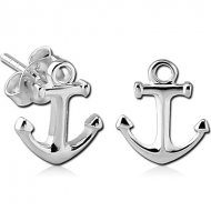 STERLING SILVER 925 EAR STUDS PAIR - ANCHOR