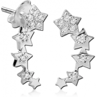 STERLING SILVER 925 JEWELLED EAR STUDS PAIR - STARS