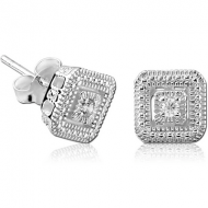 STERLING SILVER 925 JEWELLED EAR STUDS PAIR