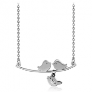 STERLING SILVER 925 NECKLACE WITH PENDANT - THREE BIRDS