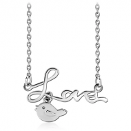 STERLING SILVER 925 NECKLACE WITH PENDANT - LOVE AND BIRD
