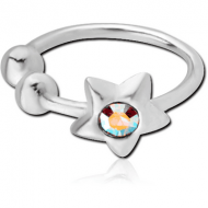 STERLING SILVER 925 JEWELLED ILLUSION NOSE RING WITH STAR