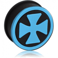 SILICONE RIDGED PLUG WITH IRON CROSS
